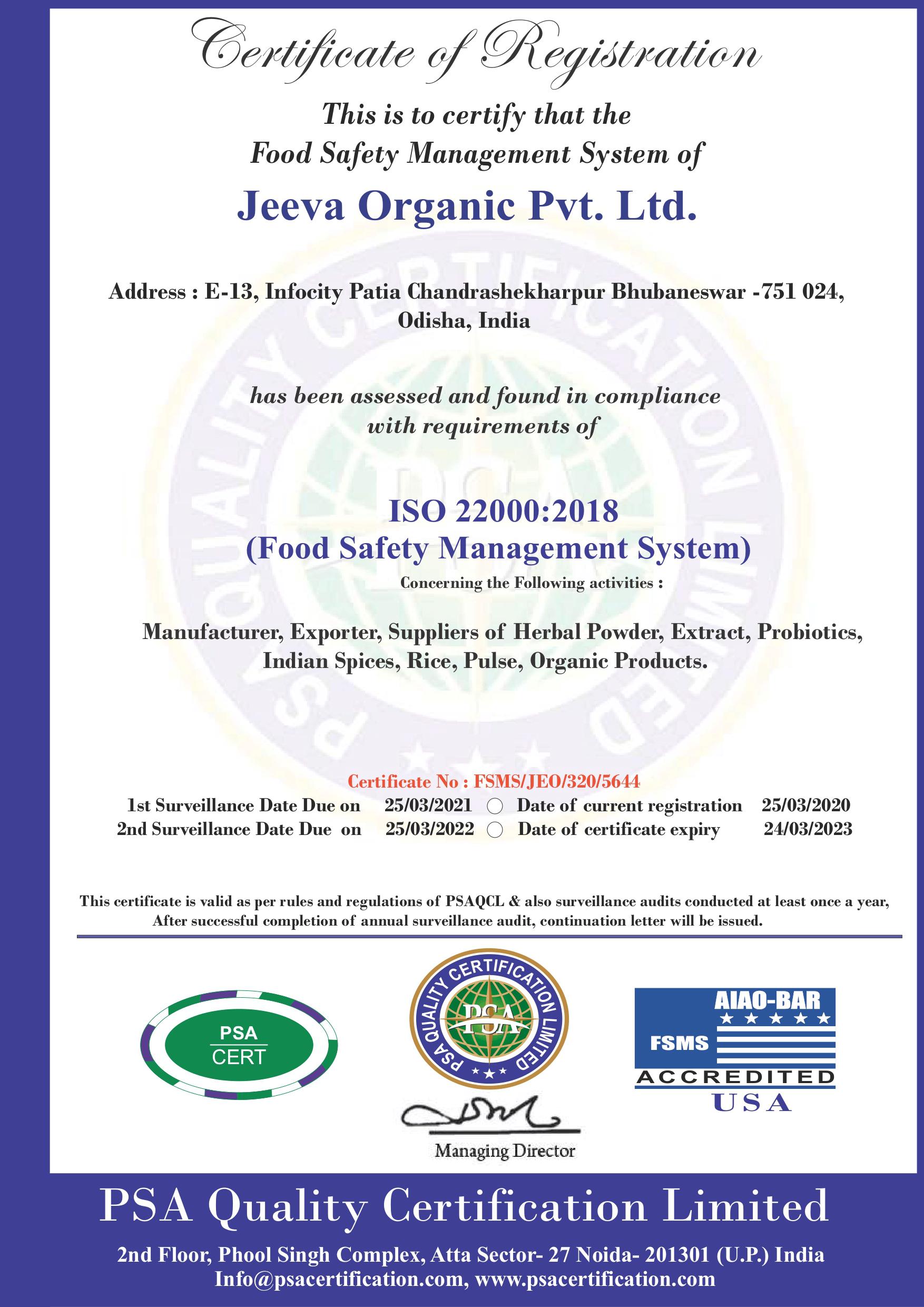 ISO 22000 Certificate - Jeeva Organic