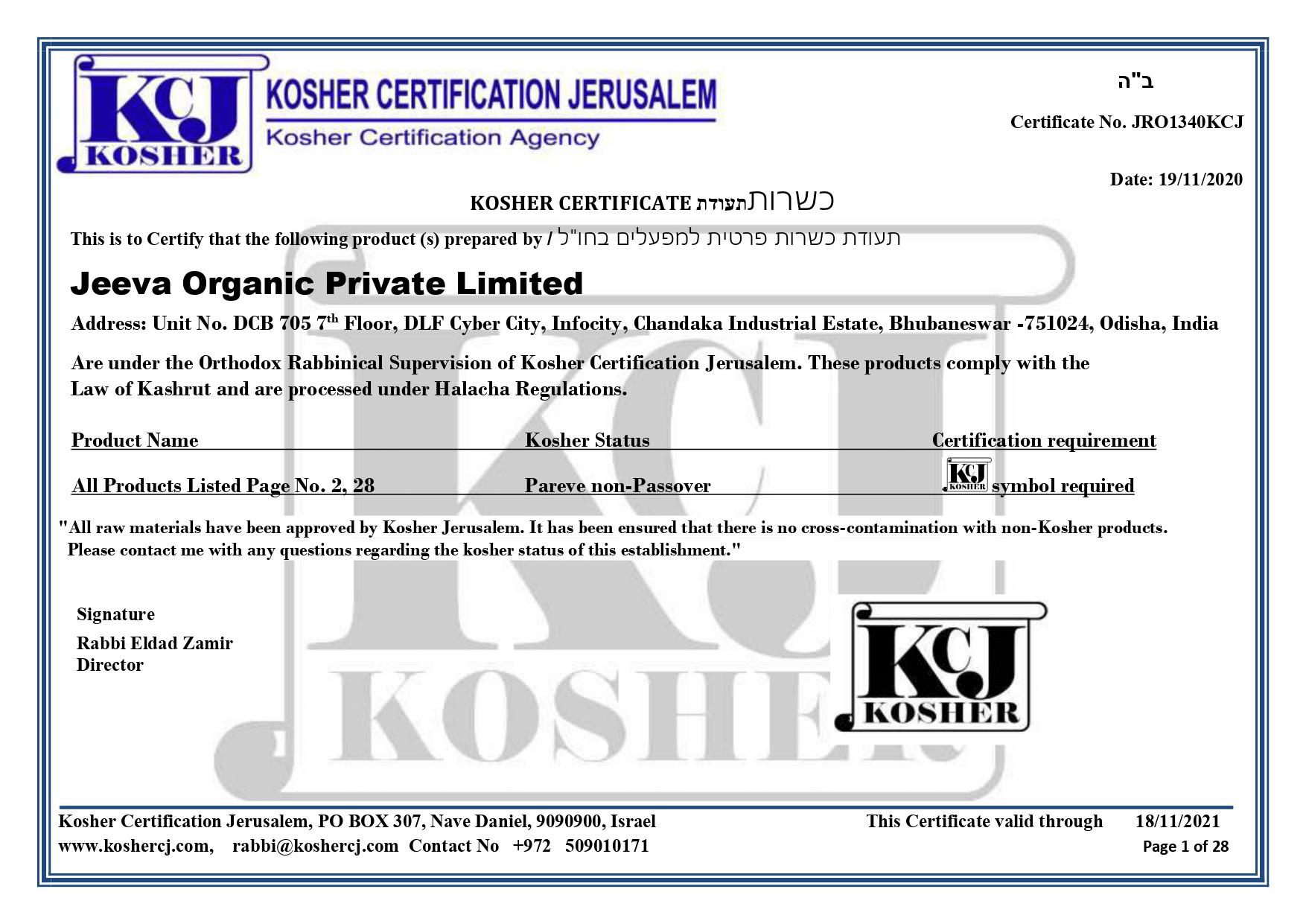 Kosher Certificate Jeeva Organic
