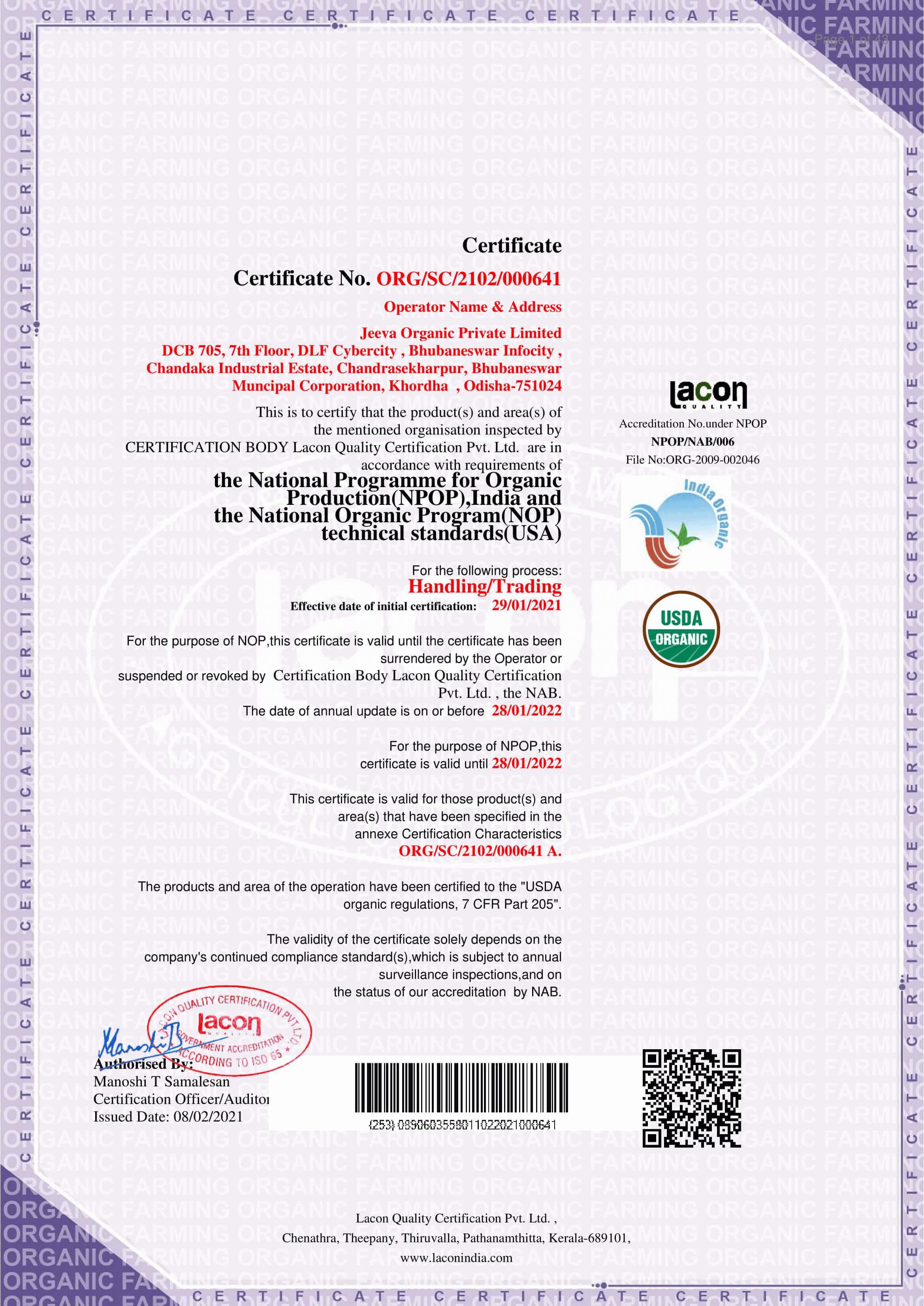 NOP Certificate Jeeva Organic