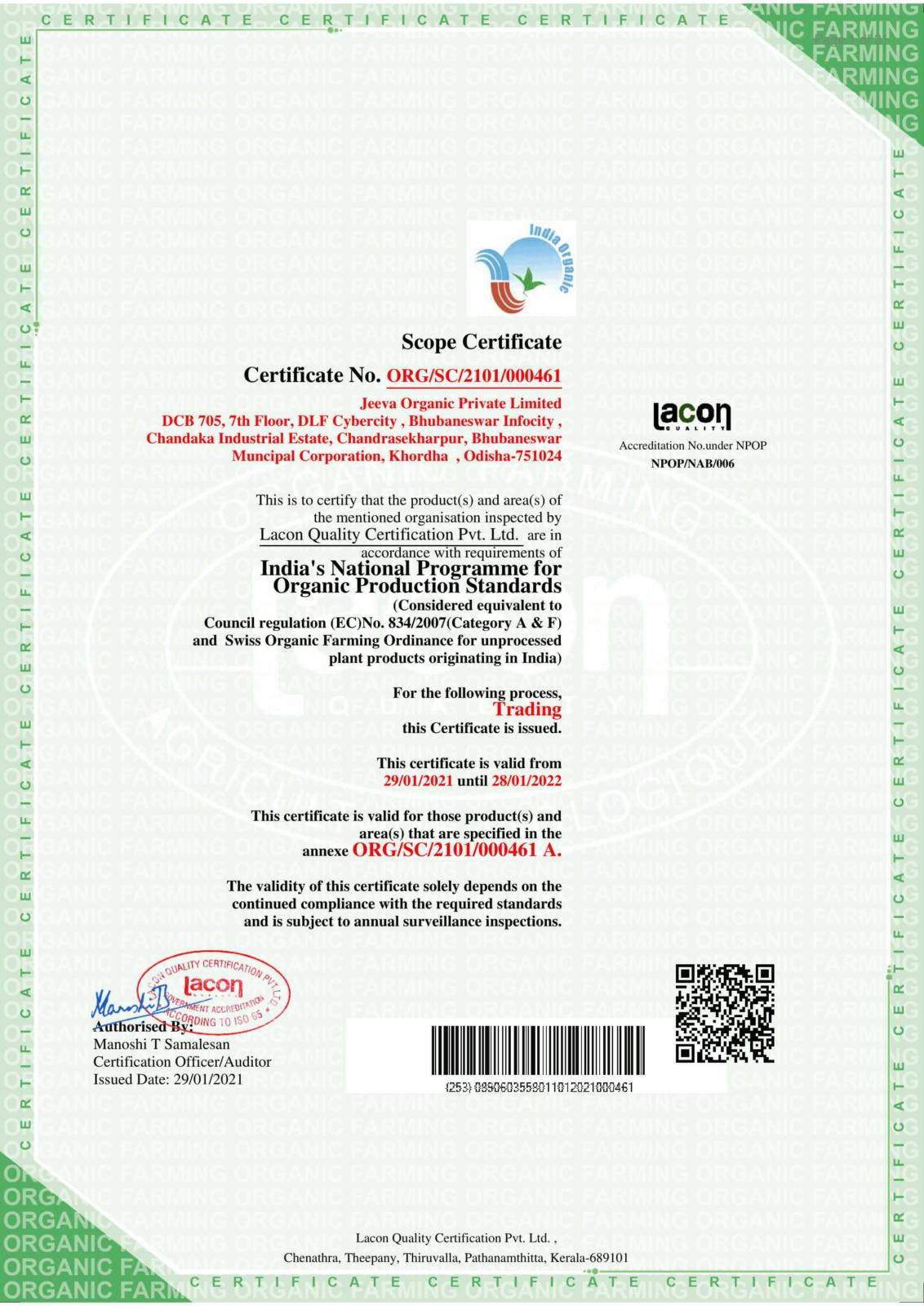 NPOP Certificate Jeeva Organic
